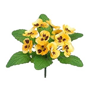 "Arcadia Silk Plantation 8.5"" Pansy Bush Yellow (Pack of 36) 89"