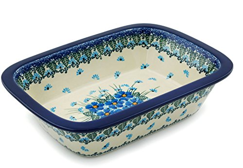 Small Rectangular Baker (Polish Pottery Rectangular Baker 10-inch Forget Me Not made by Ceramika Artystyczna)