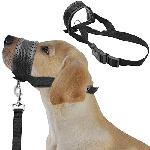 Soft Padded Pet Head Collar Dog Training Halter Nylon Dog Muzzle Loop (L, Black) (Pet Soft Loop)