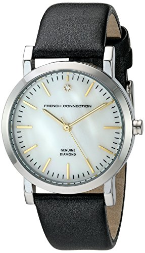 French Connection Women's 'Catherine Diamond' Quartz Metal and Leather Watch, Color:Black (Model: FC1250B)
