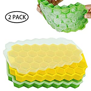 JEZOMONY Vassoi per Cubetti di Ghiaccio, Stampi per Cubetti di Ghiaccio in Silicone Flessibile con Coperchio Rimovibile… 2 spesavip
