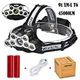 Super Bright Headlamp, Transer 45000LM 9pcs T6 LED 6 Modes Rechargeable Headlight Travel Head Torch for Camping, Running, Hiking and Reading, 2Pcs 18650 Batteries Included (Black)