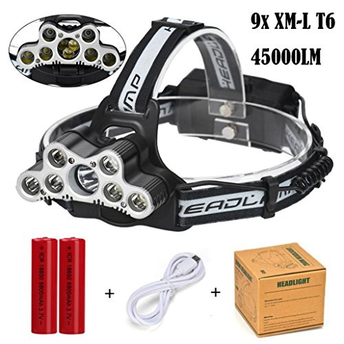 Super Bright Headlamp, Transer 45000LM 9pcs T6 LED 6 Modes Rechargeable Headlight Travel Head Torch for Camping, Running, Hiking and Reading, 2Pcs 18650 Batteries Included (Black) by Transer