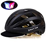 Batfox-Adult-Bike-HelmetRechargeable-Safety-Rear-Colorful-LightCloth-Visor-with-Rain-Cover-for-Road-Commuter-Street
