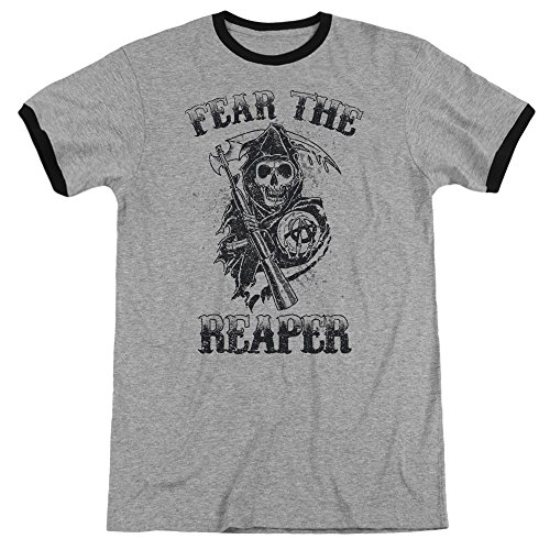 Sons of Anarchy Fear The Reaper Unisex Adult Ringer T Shirt for Men and Women, Medium Heather/Black (Reaper Ringer T-shirt)