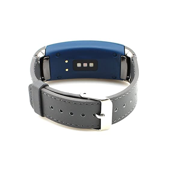 Gear Fit2 Watch Band Pinhen Fit 2 Leather Replacement Band Wristband For Samsung Gear Fit 2 SM-R360 Smart Watch (Grey)