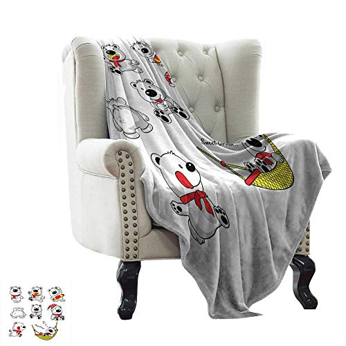 BelleAckerman Summer Blanket Baby,an Assortment of Fun Bear Activities Stretching Sleeping Running Cartoon Animal,Red Yellow White Reversible Soft Fabric for Couch Sofa Easy Care 30