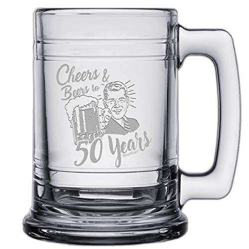 Shop4Ever Cheers & Beers to 50 Years Laser Engraved Beer Mug Stein Glass ~ 50th Birthday Gift ~ (Engraved, 50 Yrs)