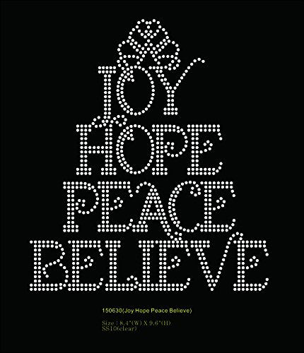 Joy Hope Peace Believe Religious Rhinestone Transfer (Hope Rhinestone)