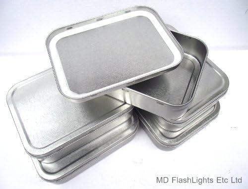 MD FlashLights Etc Ltd Lot de 5 bo/îtes /à Tabac /él/égantes avec Joint en Caoutchouc Argent/é 57 g