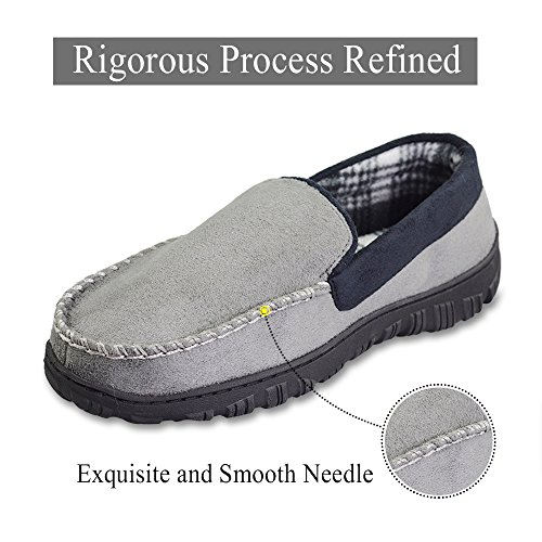 Slip LA Anti Indoor Advanced Gray with Microsuede Outdoor Moccasin Men's Slippers PLAGE Hardsole xXraHqwtnr