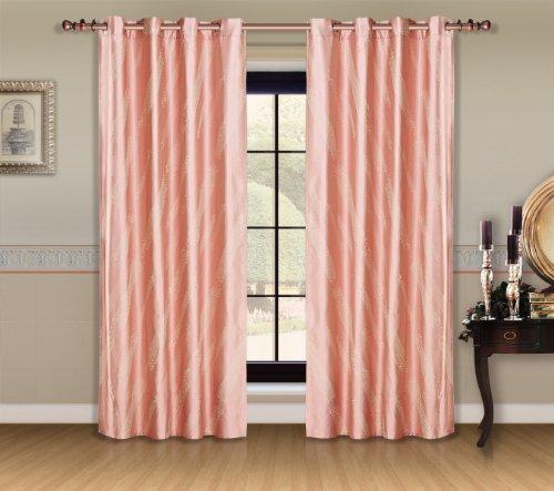 Dolce Mela DMC460 Jacquard Damask Drapery Window Treatments with Grommet Curtain Panel, Capri