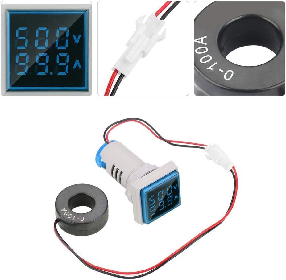 White Hyuduo LED Digital Voltage Tester Current Detector Square 22mm Dual Display Panel Voltmeter Ammeter AC 0-100A 60-500V Meter Indicator