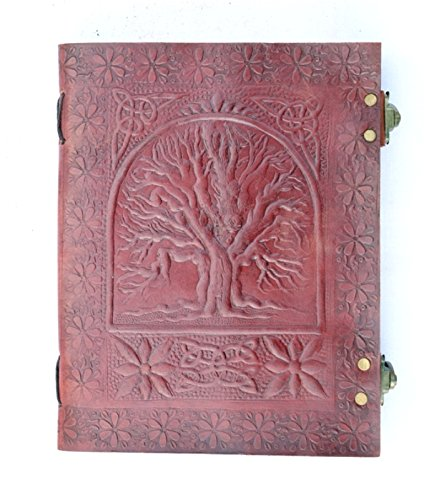QualityArt Leather Handmade Journal Tree Of Life Sketchbook Travel book Notebook Gift For His and Her 9×7 Brown