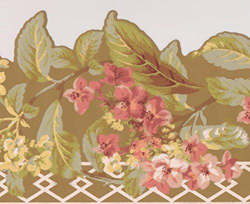 """赤い黄色のマスタード花花花の壁紙ボーダーレトロなデザインロール15 'x 9 """""""