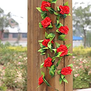 Gilroy Artificial Fake Silk Rose Flower Vine Hanging Ivy Garland Home Decor (Red) 2