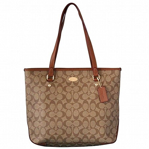 Coach Signature Zip Top Tote