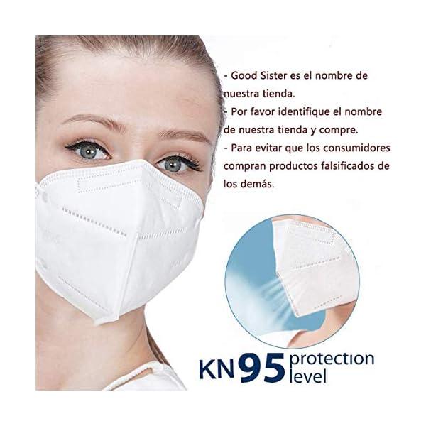 Mascarillas N95, Máscaras Desechables Protección de 5 Capas Reutilizable Transpirable y PM2.5 para Hombres y Mujeres para Deportes al Aire Libre, Fumar, Ciclismo, Viajes 2