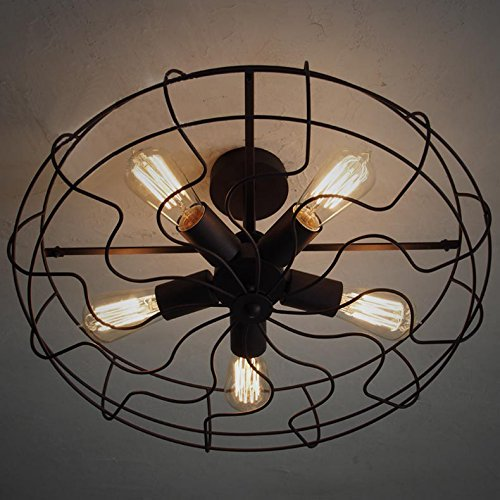 Injuicy Lighting RH LOFT Vintage Barn Metal Semi Flush Mount Light Fan Lamp Max 200W or 300W With 5 Lights Painted Finish Black With Rust Color