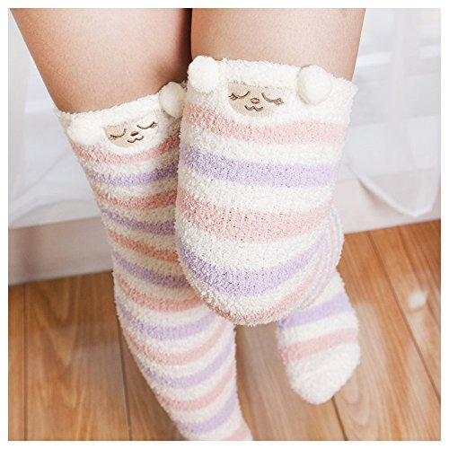 Bopstyle Christmas Soft Warm Socks Coral Velvet Knee High Stockings for Girls Gift (Cute Sheep)