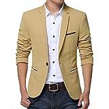 Earlish Men's Sports Jacket Lightweight One Button Slim Fit Solid Casual Blazer, Khaki, TagsizeXXXL=USsizeM