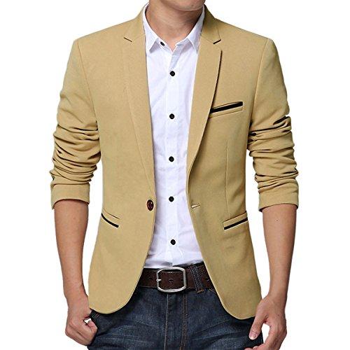 Earlish Men's Sports Jacket Lightweight One Button Slim Fit Solid Casual Blazer, Khaki, TagsizeXXXL=USsizeM by Earlish