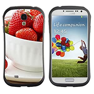 TopCaseStore Hybrid Rubber Case Hard Cover Protection Skin for SAMSUNG GALAXY S4 - Fruit Macro Strawberries Cup