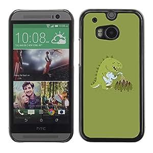 Be Good Phone Accessory // Dura Cáscara cubierta Protectora Caso Carcasa Funda de Protección para HTC One M8 // Monster Cartoon Dinosaur Pastel
