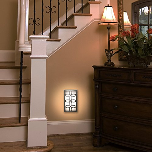 GE 11257 LED CoverLite Night Light, Plug-In, Soft White, Light Sensing, Auto On/Off, Brushed Nickel Finish, Ideal for Entryway, Hallway, Kitchen, Bathroom, Bedroom, Stairway, Office, and more