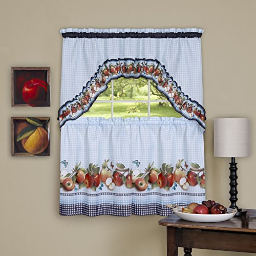 Achim Home Furnishings Golden Delicious Window Curtain Tier & Swag Set, 57