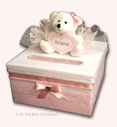 Baby Shower Card Box, Teddy Bear, Personalized, Handmade, Baby Girl Gift,