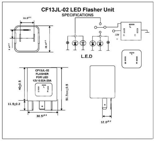 LED Universal Blinkrelais Blinkerrelais Blinkgeber Lastunabh/ängig