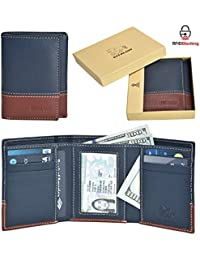 EASTER GIFT Handmade Mens Rfid Blocking Genuine Leather slim Trifold 6 Credit Card + ID Window Wallet+ 2 Note Compartment with Gift Box By Estalon