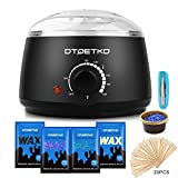 #9: Wax Warmer DTOETKD Waxing Hair Removal Kit with 4 Hard Wax Beans + 20 Wax Applicator Sticks + 4 Small Bowls (At-home Waxing) (BLACK)