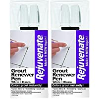 Rejuvenate White Grout Restorer Marker Pens – Restore and Renew Dingy Stained Grout in Minutes – 2-Pack
