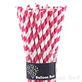 Biodegradable Paper Drinking Straws (Premium Quality), Pack of 50, Striped - Fuchsia