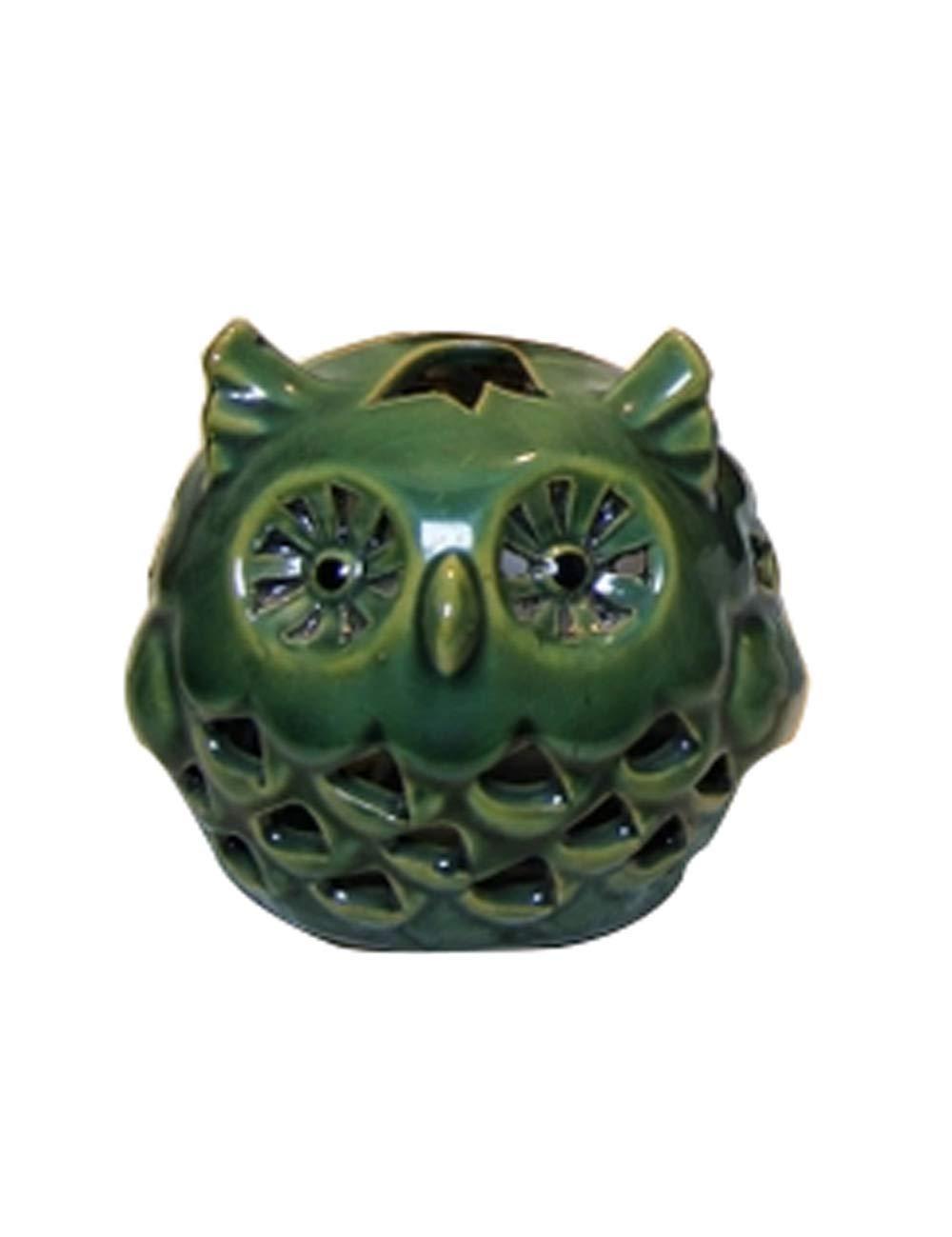 装飾品、セラミック材料のアートワーク、ヨーロッパスタイルの装飾、創造的な動物のフクロウの燭台の工芸品 (色 : Green)  Green B07JNP8VST