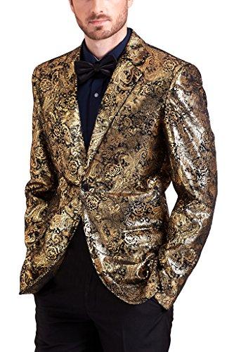 Hanayome Men's 3 Pieces Luxury Blingbling Corduroy Bronzing Dress Separate Pants SI105 (Gold,54)
