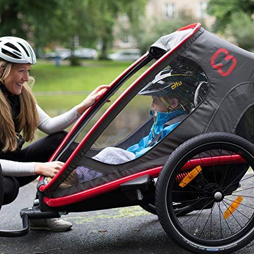 51vJ7jEzGdL - Hamax Outback Reclining Multi-Sport Child Bike Trailer + Stroller - 2020 Model (Jogger Wheel Sold Separately) (Navy/White, One Seat)