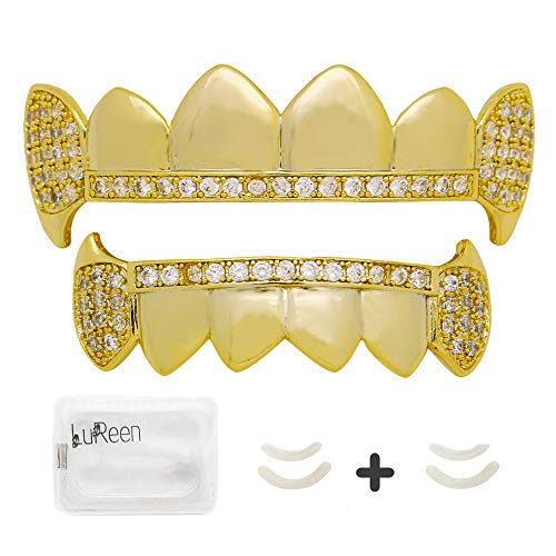 LuReen Gold Silver Vampire Fangs Pave CZ 6 Top and Bottom Grills Teeth Sets + Extra 2 Molding Bars -