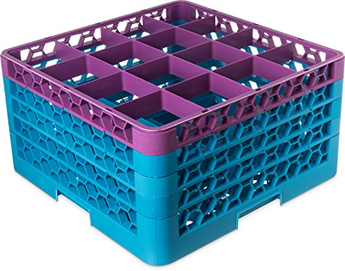 Carlisle RG16-4C414 OptiClean 16 Compartment Glass Rack with 4 Extenders, 10.3