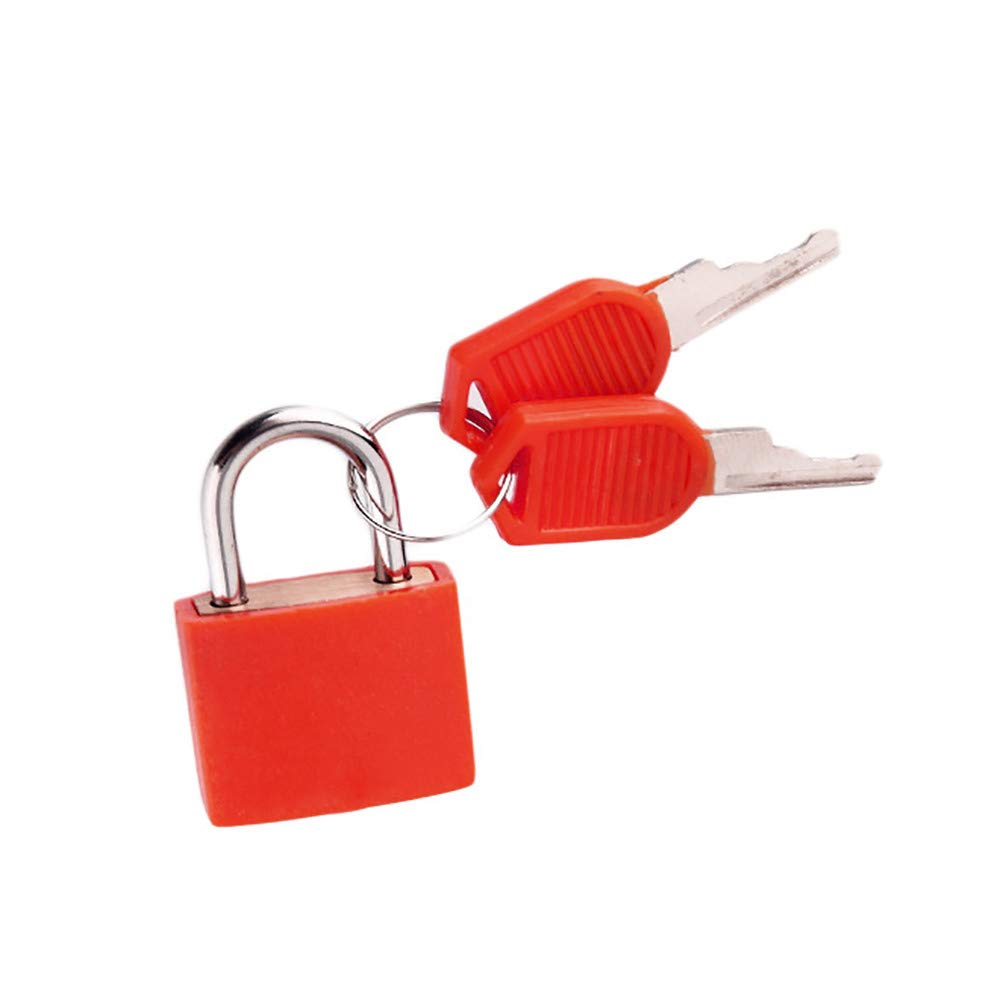 Connia Small Mini Strong Steel Padlock Travel Suitcase Diary Lock With 2 Keys for Travel (Red)