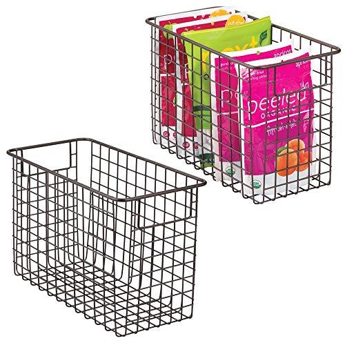 mDesign Household Metal Wire Storage Organizer Bins Basket with Handles for Kitchen Cabinets, Pantry, Bathroom, Landry Room, Closets, Garage - 2 Pack, 12 x 6 x 8, Bronze