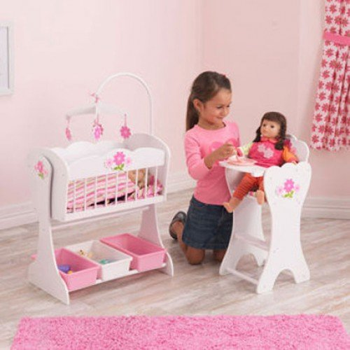 Good KidKraft Floral Fantasy Doll Furniture Set (3+ Years) Comprises A Dolls  Rocking Cradle And High Chair. This Quality Wooden Childrenu0027s Toy Crib And  Highchair ...