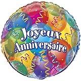 Ballons Métallique Joyeux Anniversaire - 45,7 cm - Compatible Hélium