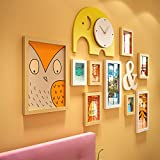 Creative photo frame stay adorable photo wall creative photo frame home decoration elephant, accounting for wall area 122*90cm, light yellow white/9 box(excluding the items on the shelves)