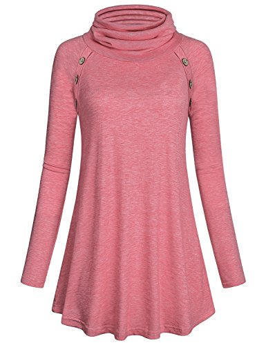 - Kimmery Tunics for Women Ladies Long Sleeve Mock Neck Blouse Chassic Decorative Button T Shirt Comfy Tops Sweatshirt Pink Large