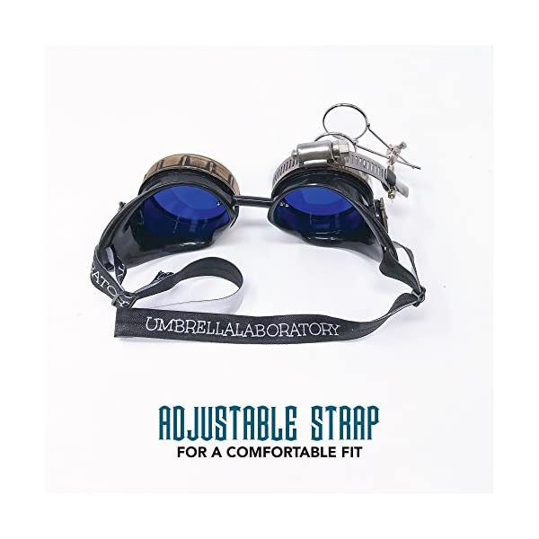 Enjoy Your Steampunk Victorian Style Goggles with Compass Design, Azure Blue Lenses & Ocular Loupe 4