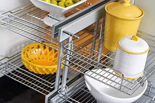 Kitchen Rev-A-Shelf 5PSP-18-CR 18-Inch Blind Left and Right Corner Floor Mount 4 Shelf 150 Pound Max Ball Bearing Slide Out… pull-out organizers