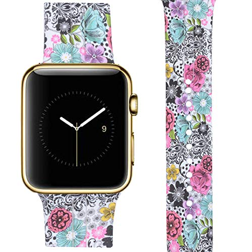 Allbingo Cute Bands Compatible with Apple Watch,Women Men Floral Replacement Strap Wristband for Apple Watch 38mm/40mm/42mm/44mm Iwatch Series 4 Series 3 Series 2 Series 1